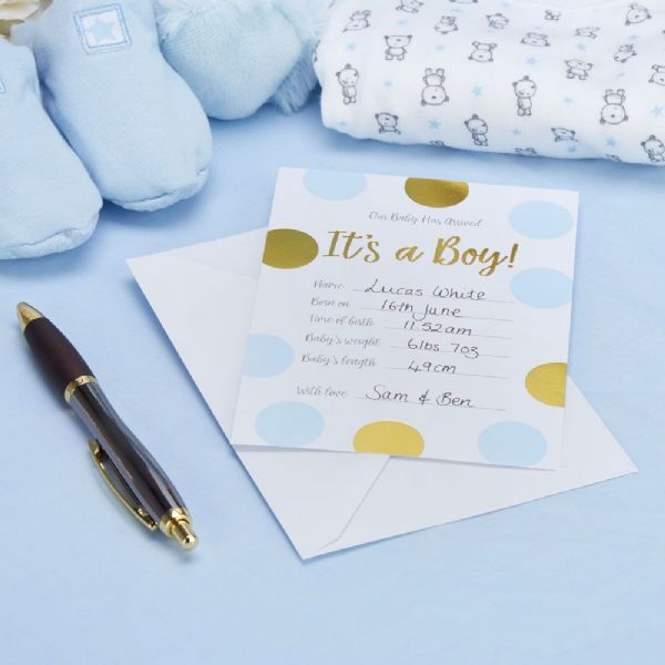 Pattern Works Blue Baby Announcement Cards (10)